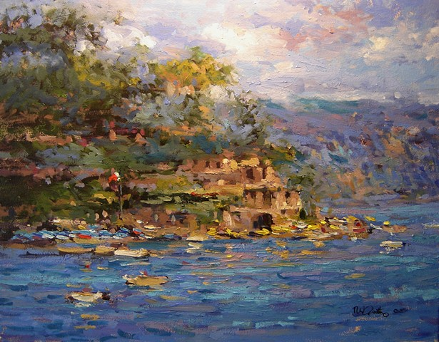 Santa Marguerita Italy in sunlight. R W Bob Goetting, oil paintings of Italy, french and italian riviera