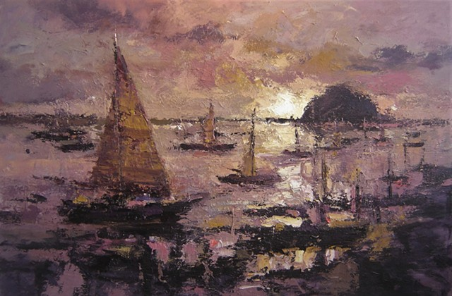 Paintings of Morro Bay, paintings of sail boats, seascape, Morro Rock, California