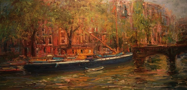 Oil painting of a boat scene in Amsterdam, the Netherlands R W Bob Goetting