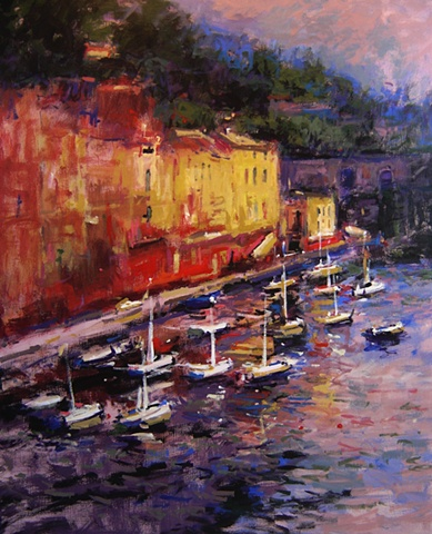 Portofino, Italy at sundown, in gold, yellow, red and white. Paintings of Portofino