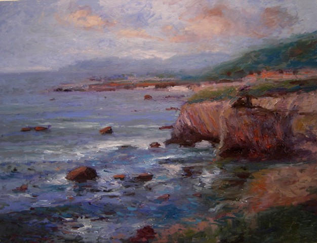 Afternoon at Shell Beach oil sketch Paintings of Pismo Beach California