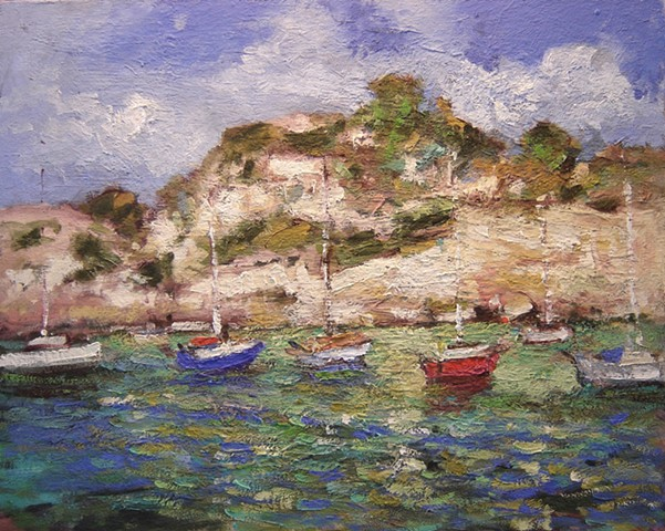 Le Calanques, boats, France, paintings of France, paintings of the Mediterranean, Cassis,