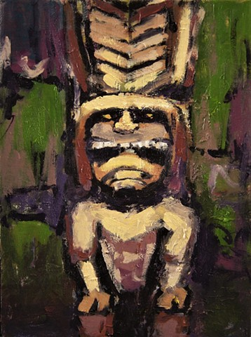 Tiki head, Tiki god, Kanaloa, Hawaiian god, paintings of tiki gods, Ki'i god