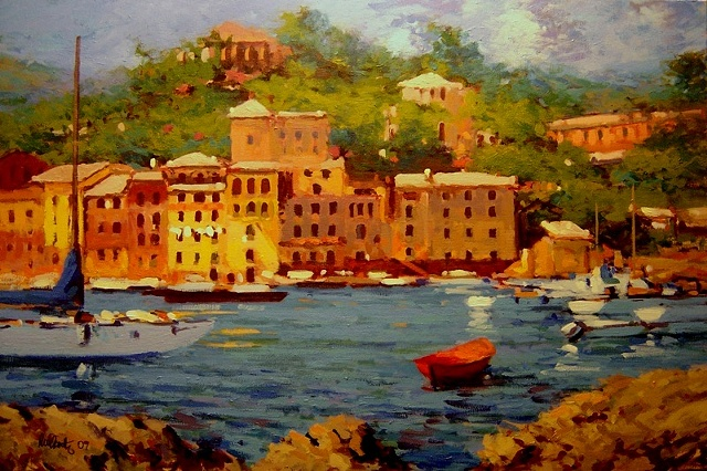 Portofino Italy original oil painting R W Bob Goetting Painting of Portofino