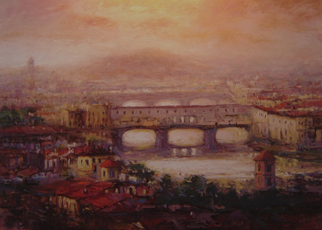 The famous Ponte Vecchio bridge in Florence at dusk