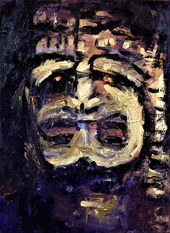 Tiki head, Tiki god, Ku, Hawaiian god, paintings of tiki gods,