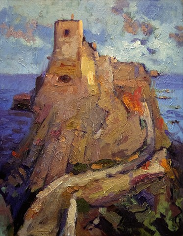 Castle, Italy, Italian castles, Paintings of Italy, Paintings of Italian castles, R. W. Bob Goetting