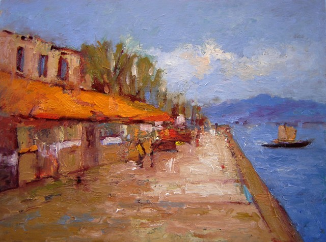 Afternoon in Nafplio Greece, seaside, Peloponnese, Greece, resort, Paintings of Greece