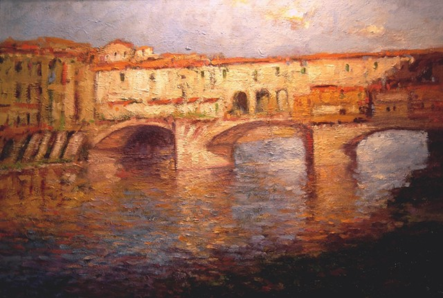 Ponte Vecchio bridge Florence Italy. Oil painting of Italy