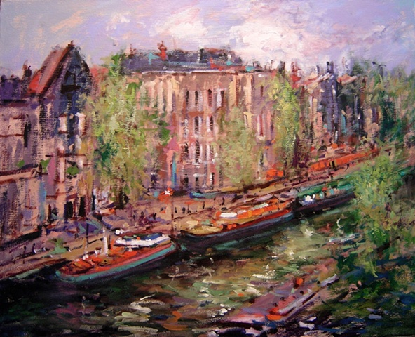 Oil painting of a boat scene in Amsterdam, the Netherlands