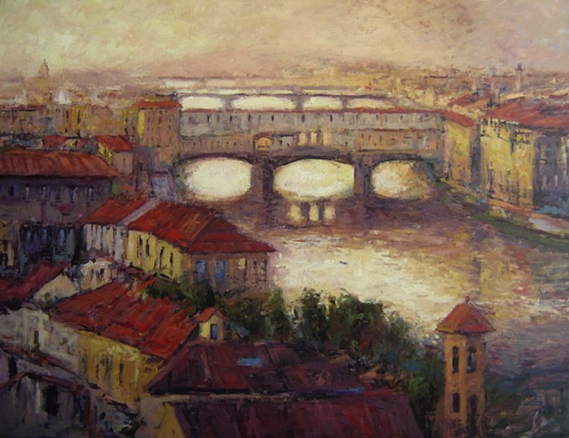 Paintings of Florence Italy, Paintings of the Ponte Vecchio, Firenze paintings, Florence paintings, Italy,  painting, Ponte Vecchio paintings