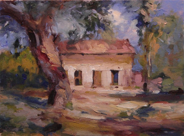 Original oil painting for sale old house in sunlight
