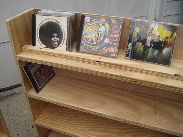 Cds on shelf
