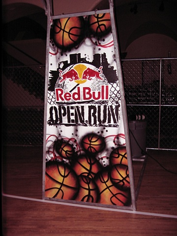 Red Bull basketball tournament hoop back drop