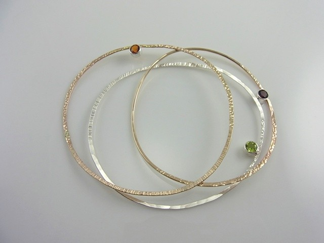 Bangle Bracelets with Gemstones