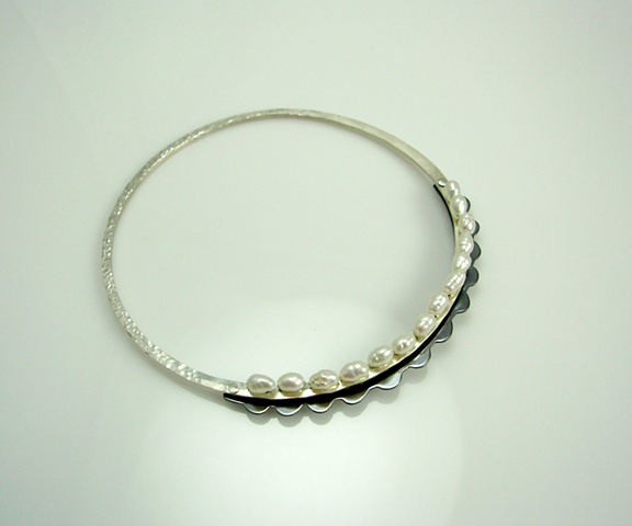 Fancy Scalloped Pearl Bangle