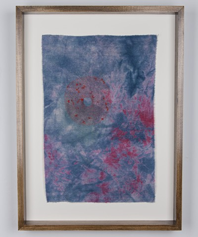 "Eternal, 2016. Hand embroidery on indigo and acid dyed raw silk, 21.75"" x 14.50""."