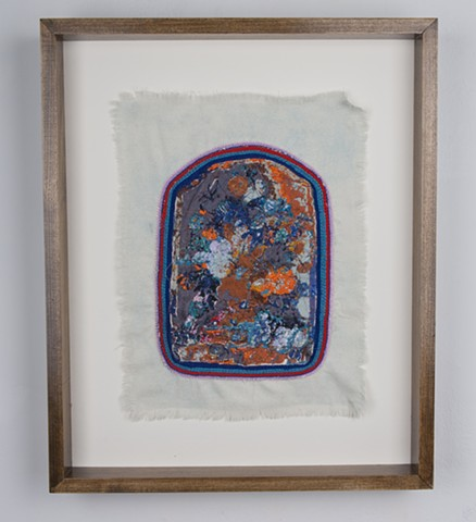 "Eden, 2015. Digital and hand embroidery on indigo dyed raw silk, 16.25"" x 12.50""."