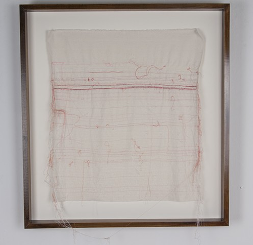"Love Letter, 2016. Handwriting and hand embroidery on raw silk, 25"" x 22.75""."