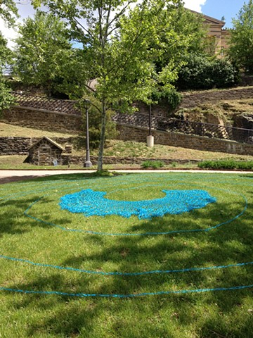 Labyrinth (BLUE), 2014. Crocheted ribbon, dimensions variable.
