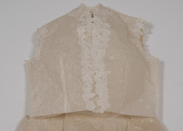 Yes to the Dress, June 10, 2015, detail, 2016. Machine sewn flax and abaca paper and silk organza, dimensions variable.