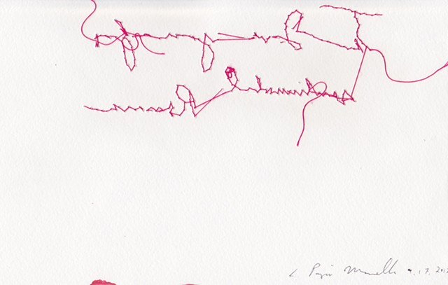"I Love you for sentimental Reasons, back, 2012. Embroidery on paper, 5""x8""."
