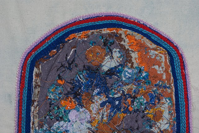 "Eden, detail, 2015. Digital and hand embroidery on indigo dyed raw silk, 16.25"" x 12.50""."