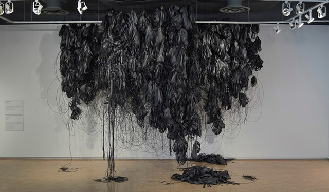 Amanda McCavour, Fibers and Material Studies Graduate Projects, 2013. Black Cloud. Paper, straws, toothpicks and thread.