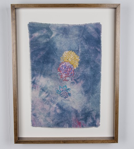 "Corsage, 2016. Digital and hand embroidery on indigo and acid dyed raw silk, 21.50"" x 14.75""."