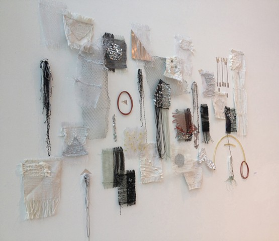 Samantha Connors, Woven Structure III, 2014. Experimental Weaving. Alternative materials including found plastic lacing, tubing, wire, tinsel, and yarn weaving studies. Tyler School of Art, Temple University.