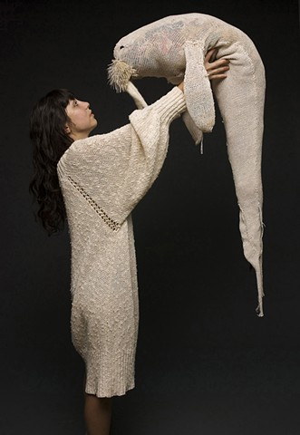 Nicole Campanale, Body Art and Adornment, 2009. Walrus. Machine and hand knitted wool. Tyler School of Art, Temple University.