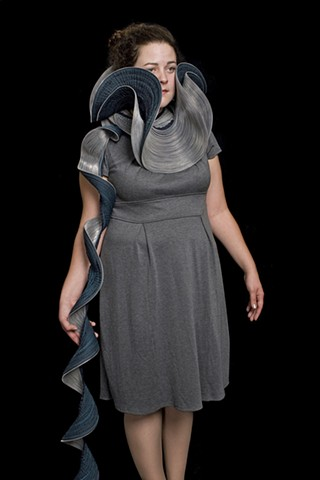 Armor, 2008. Machine-sewn zippers modeled by the artist, dimensions variable.