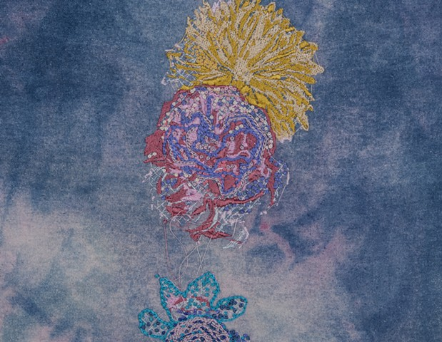 "Corsage, detail, 2016. Digital and hand embroidery on indigo and acid dyed raw silk, 21.50"" x 14.75""."