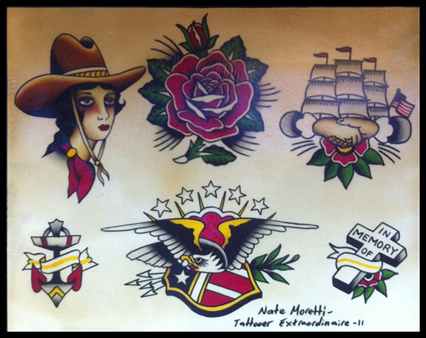 nate moretti flash hand painted traditional tattoo tattoos