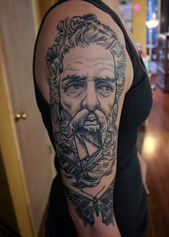 poseidon tattoo by dave wah at stay humble tattoo company in baltimore maryland