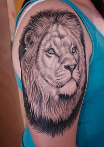Lion tattoo by dave wah at stay humble tattoo company in baltimore maryland