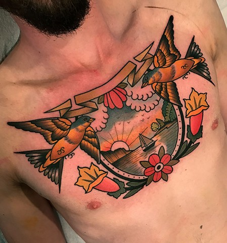 traditional landscape tattoo by tattoo artist dave wah at stay humble tattoo company in baltimore maryland the best tattoo shop in baltimore maryland