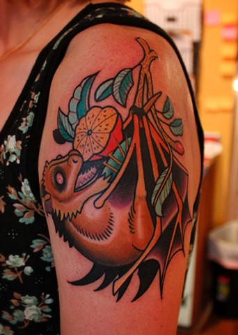 fruit bat tattoo by dave wah at stay humble tattoo company in baltimore maryland