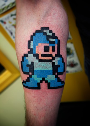 megaman tattoo by dave wah