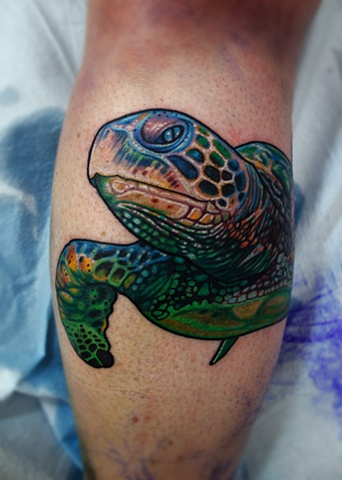 sea turtle tattoo by dave wah