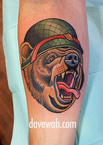 bear tattoo by dave wah at stay humble tattoo company in baltimore maryland the best tattoo shop in baltimore maryland