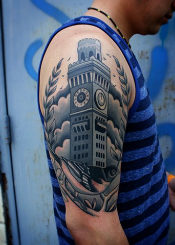 bromo seltzer building tattoo and oriole tattoo by dave wah