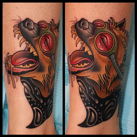 hyena tattoo by dave wah at stay humble tattoo company in baltimore maryland the best tattoo shop