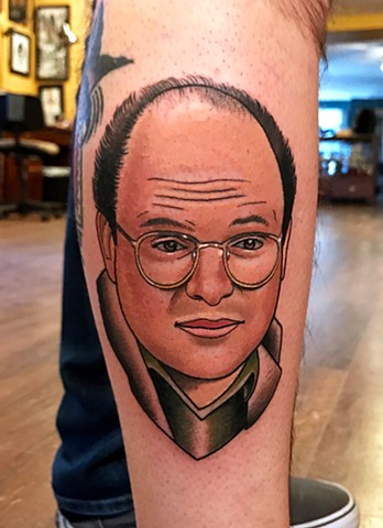 george costanza portrait tattoo by dave wah at stay humble tattoo company in baltimore maryland the best tattoo shop and artist in baltimore maryland