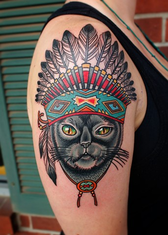 cat with indian headdress tattoo by dave wah