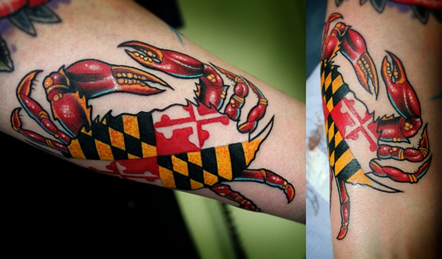 Crab with maryland flag in shell tattoo by Dave Wah
