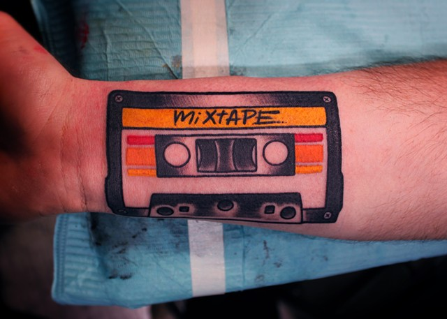 Cassette tape tattoo