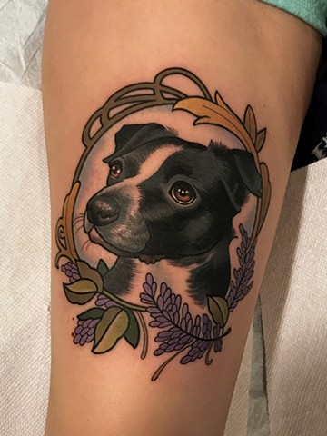dog portrait tattoo by tattoo artist dave wah at stay humble tattoo company in baltimore maryland the best tattoo shop in baltimore maryland