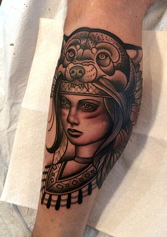 native american warrior tattoo by dave wah at stay humble tattoo company in baltimore maryland the best tattoo shop in baltimore maryland