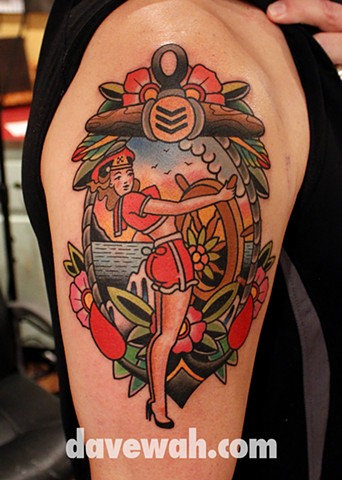 pin up tattoo by dave wah at stay humble tattoo company in baltimore maryland the best tattoo shop in baltimore maryland